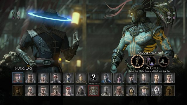 The full MKX roster. Note the character move set variant on the left.