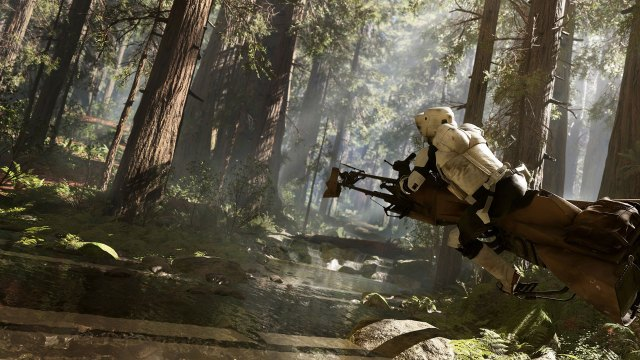 An imperial sharpshooter riding a speeder on what appears to be the planet Endor.