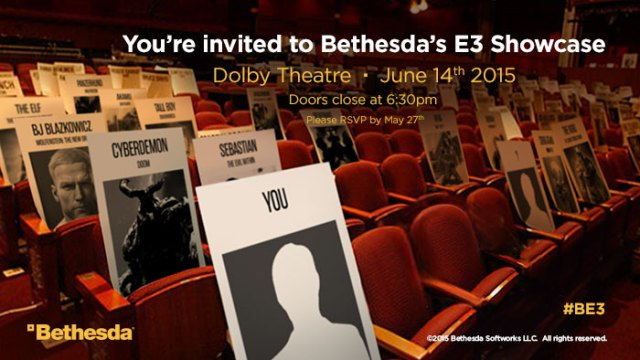 An ad featuring popular Bethesda characters - note the '?' seat in the front row