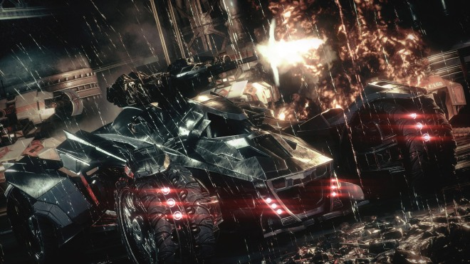 The Batmobile can also provide support during hand-to-hand combat sequences