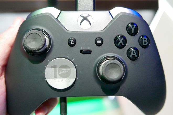 An Elite controller with custom Forza Motorsport 6 sticks and D-pad