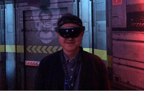 Yoshida trying out the Xbox One Hololens experience at E3