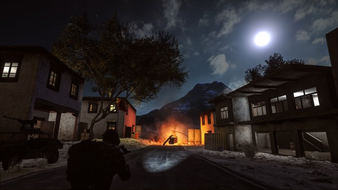 Golmud Railway's village section looks stunning by night.