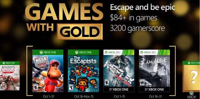 Xbox's October 'Games With Gold'revealed