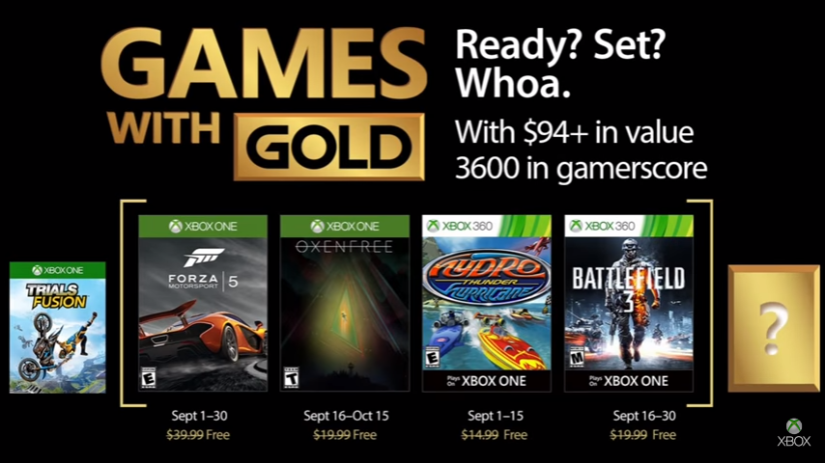 Xbox's Games With Gold – September2017