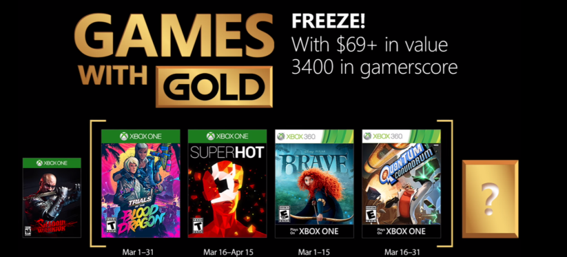 Xbox's Games With Gold – March 2018